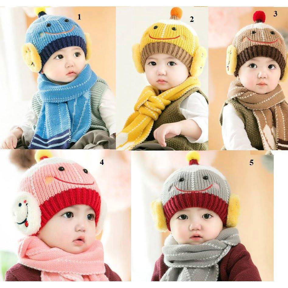 Khăn mũ len mặt cười cho bé
