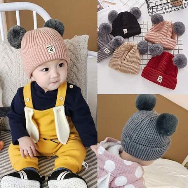 Mũ len hai quả bông cho bé hàng Quảng Châu