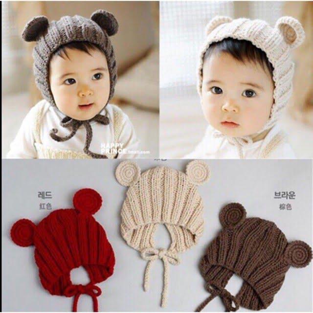 Mũ len tai gấu siêu đáng yêu