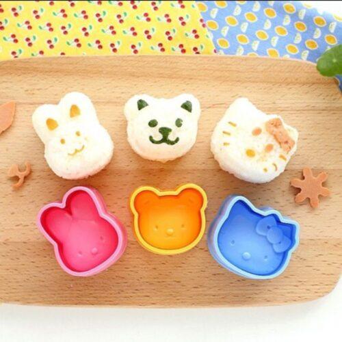 Bộ 3 khuôn ép cơm  bánh hình thú dễ thương cho bé